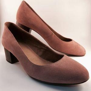 Madewell Pink Suede Ella Block Heel Pumps Size 8
